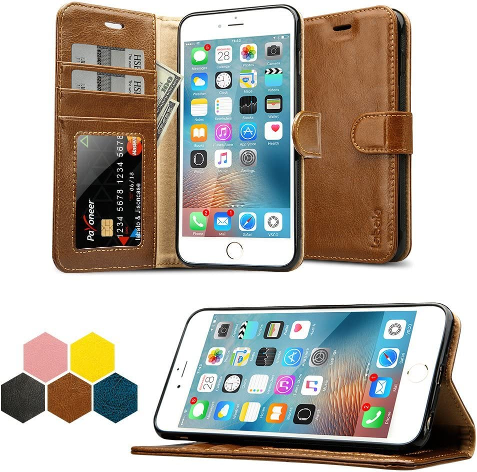 labato iPhone 6S Plus Case, iPhone 6S Plus Genuine Leather Wallet Folio Flip Case Cover Magnetic Stand Function with Card Slots/Cash Compartment for Apple iPhone 6/6S Plus 5.5