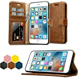 "iPhone 6S Plus Wallet Case, Labato Genuine Leather Folio Flip Case Cover Magnetic Stand Function with Card Slots/Cash Compartment for Apple iPhone 6 Plus/ 6S Plus 5.5""- Brown (lbt-I6U-05Z20)"