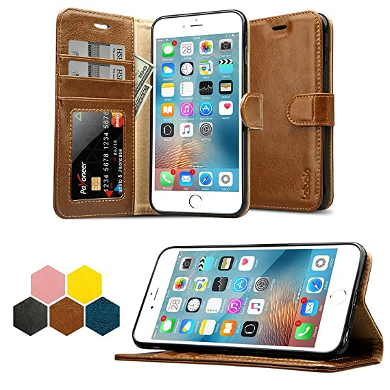 pretty nice 2227b a62b9 iPhone 6S Plus Wallet Case, Labato Genuine Leather Folio Flip Case Cover  Magnetic Stand Function with Card Slots/Cash Compartment for Apple iPhone 6  ...