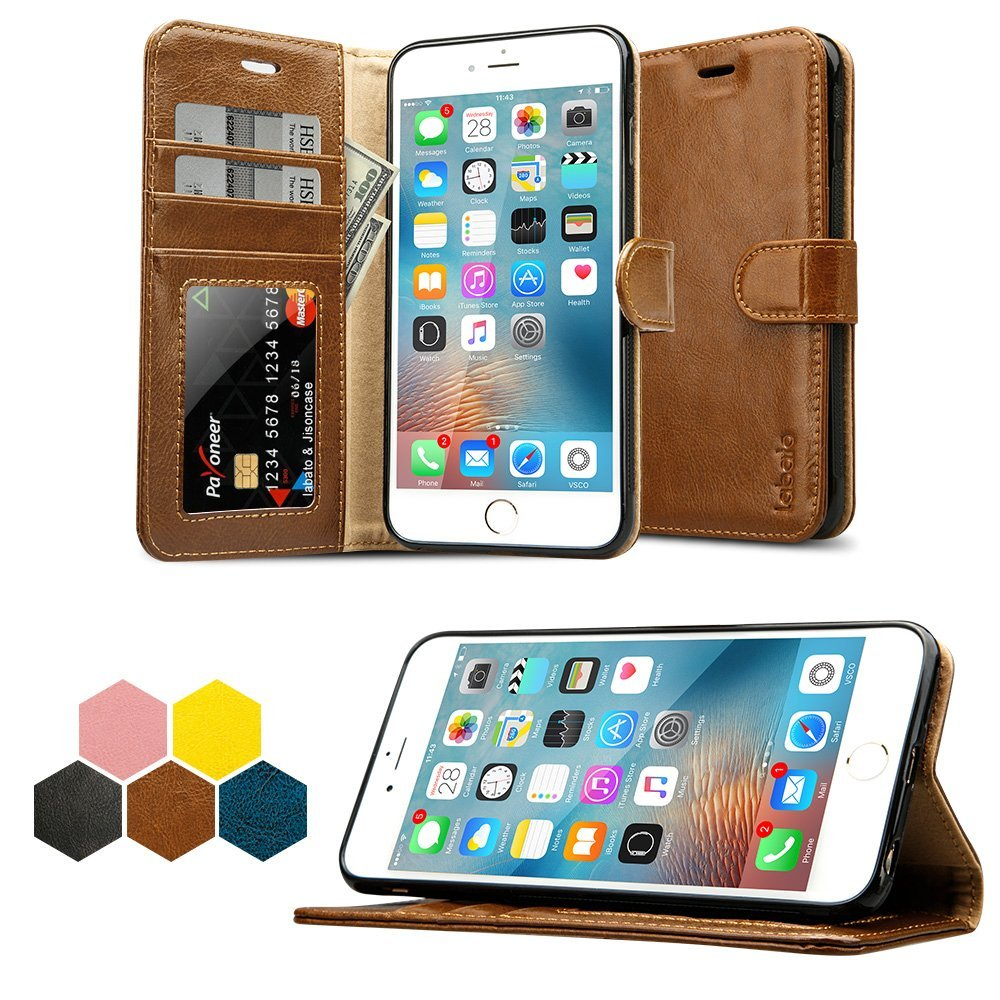 iPhone 6S Plus Wallet Case, Labato Genuine Leather Folio Flip Case Cover Magnetic Stand Function with Card Slots/Cash Compartment for Apple iPhone 6 Plus/ 6S Plus 5.5''- Brown (lbt-I6U-05Z20)