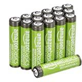 Amazon Basics Pacote com 16 pilhas recarregáveis AAA de alta capacidade de 850 mAh, pré-carregadas, podem ser recarregadas ce