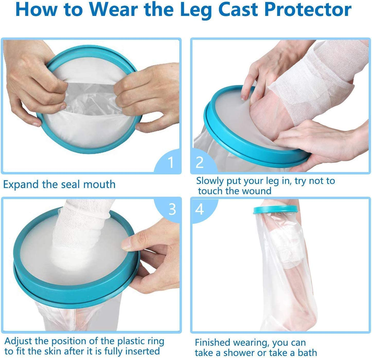 【2020 Upgraded】Waterproof Leg Cast Cover for Shower and Bath, Reusable Sealed Watertight Foot Protector to Keep Wound & Bandages Dry, Perfect Fit for Leg Foot Ankle and No Mark on Skin: Health & Personal Care