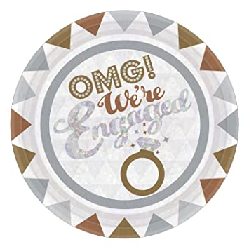 OMG Engagement Paper Party Plates  sc 1 st  Amazon.com & Amazon.com: OMG Engagement Paper Party Plates: Kitchen \u0026 Dining