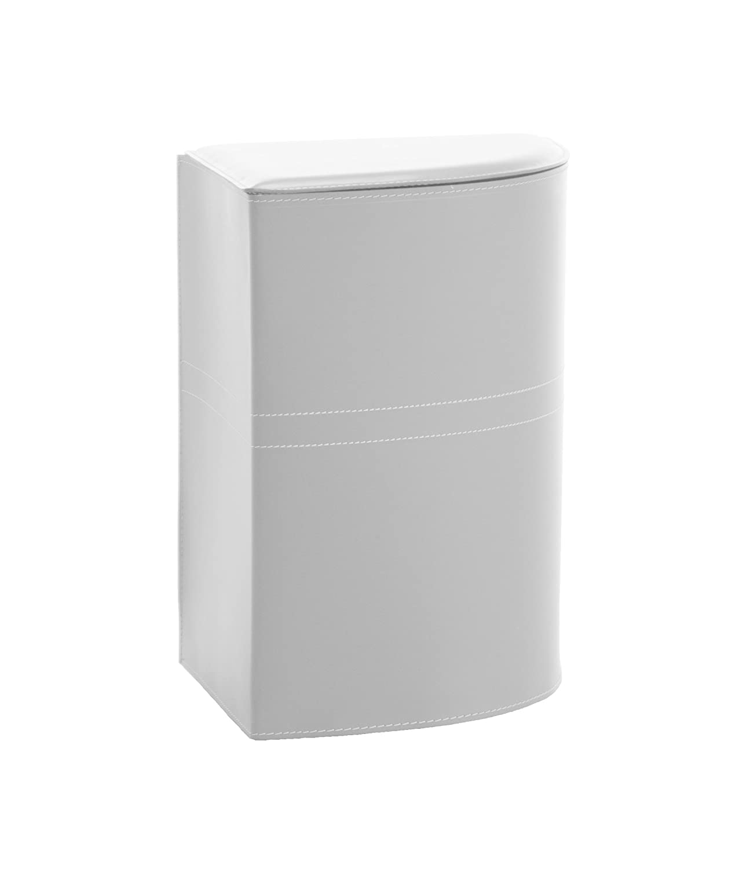 de cuero color Blanco con una bolsa de algod/ón extra/íble,ahorro de espacio made in Italy by Limac Design/®. SIMON: Cesta de lavandero cCesta de ropa sucia