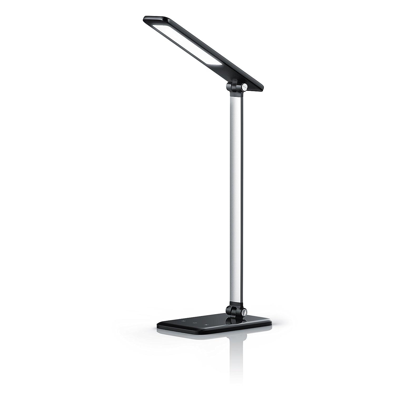 Brandson - dimmbare LED Schreibtischlampe | Augenschutz - 3 Helligkeitsstufen (Touch Key) | Touch-Bedienung (berührungsgesteuert) | 100° Strahlungswinkel | Nachtlicht-Modus | schwarz