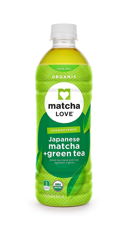 Matcha Love Unsweetened Organic Matcha + Green Tea, (Pack of 12), 16 Ounce Bottle