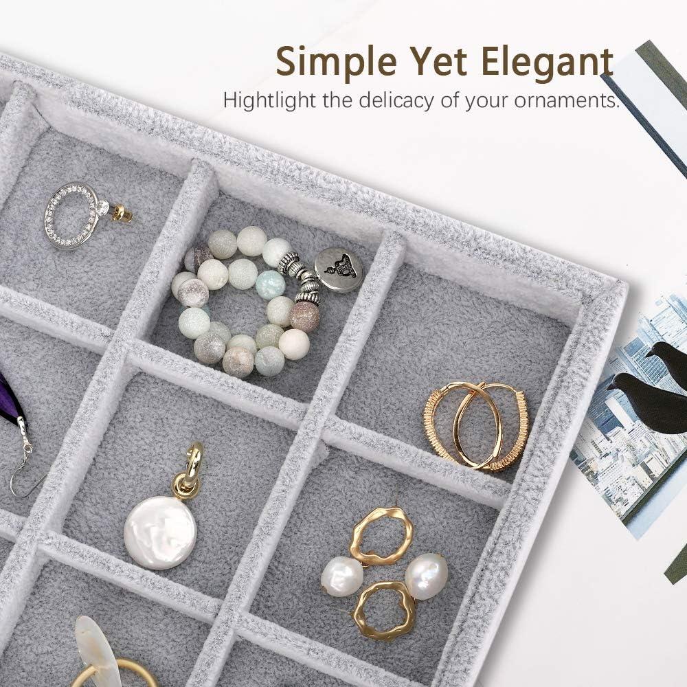 20 Hooks Necklace Organizer Velvet Stackable Necklace Jewelry Showcase Display Tray for Necklace Pendant Bracelet Emibele Jewelry Organizer Grey