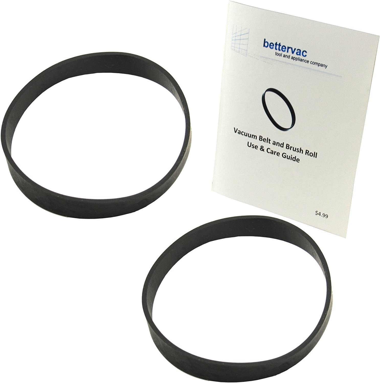 Bissell #U1451 BigGreen Commercial Vacuum Belts 2 Pack Bundled With Use And Care Guide