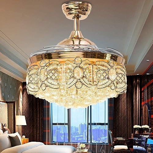 """Sweety House 42"""" Luxury Crystal Ceiling Fan Chandelier"""