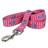 Yellow Dog Design Anchors On Pink Stripes Dog Leash