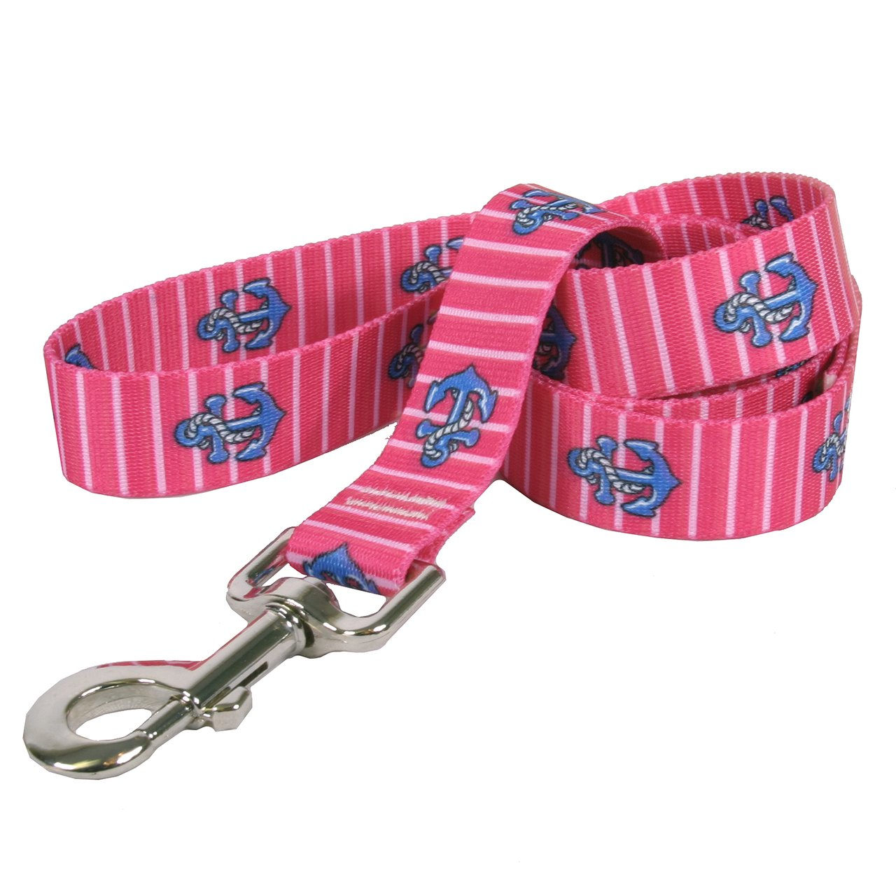 Yellow Dog Design Anchors On Pink Stripes Dog Leash 1'' Wide And 5' (60'') Long, Large
