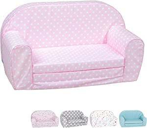 DELSIT Toddler Couch & Kids Sofa - European Made Children's 2 in 1 Flip Open Foam Double Sofa - Kids Folding Sofa, Kids Couch - Comfy fold Out Lounge (Pink with Dots)