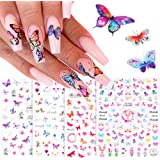 3D Butterfly Nail Art Stickers Flower Butterfly Nail Decals for Acrylic Nails Decoration Self-Adhesive Butterfly Nail Sticker Designs Foil Nail Art Butterfly Set Manicure Tips Accessories (4 Sheets)