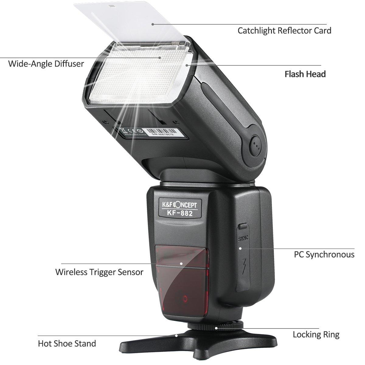 K&F Concept KF-882 Speedlite Flash para Cámara DSLR Canon Compatible con E-TTL, Sincronización de Alta Velocidad, Maestro y Slave Inlámbrico Modo de Flash M ...