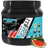 BCAA Pulver hochdosiert 8:1:1 Aminosäuren der deutschen Profisport Marke FSA Nutrition®   Vegan   Low Carb   Für Fitness, Sport, Muskelaufbau, Bodybuilding und Abnehmen   Wassermelone