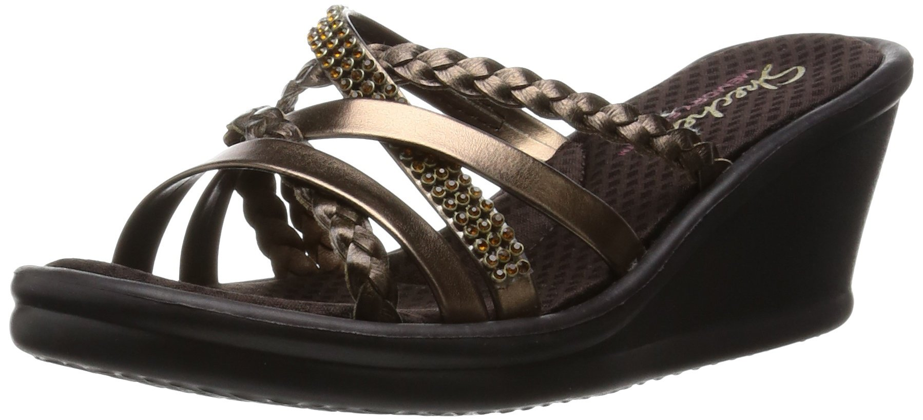 Skechers Cali Women's Rumblers Wild Child-Social Butterfly Wedge Sandal,Bronze Rhinestone,7 M US
