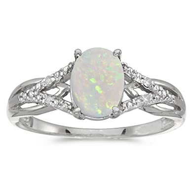 c0a555b5776daf 0.56 Carat (ctw) 14k Gold Oval White Opal and Diamond Infinity Split Shank  Engagement Promise Fashion Ring (8 x 6 MM) | Amazon.com