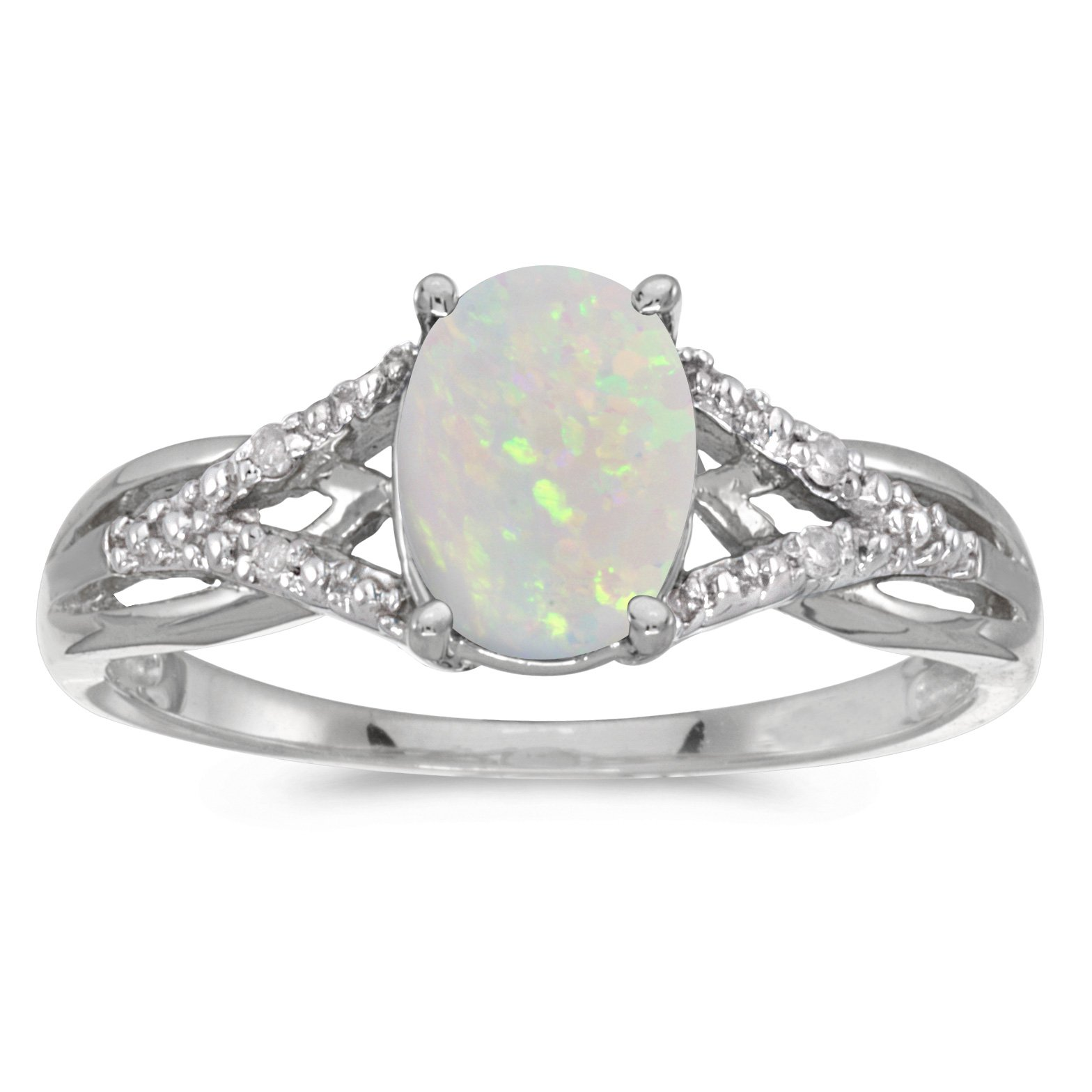 14k White Gold Oval Opal And Diamond Ring (Size 10)