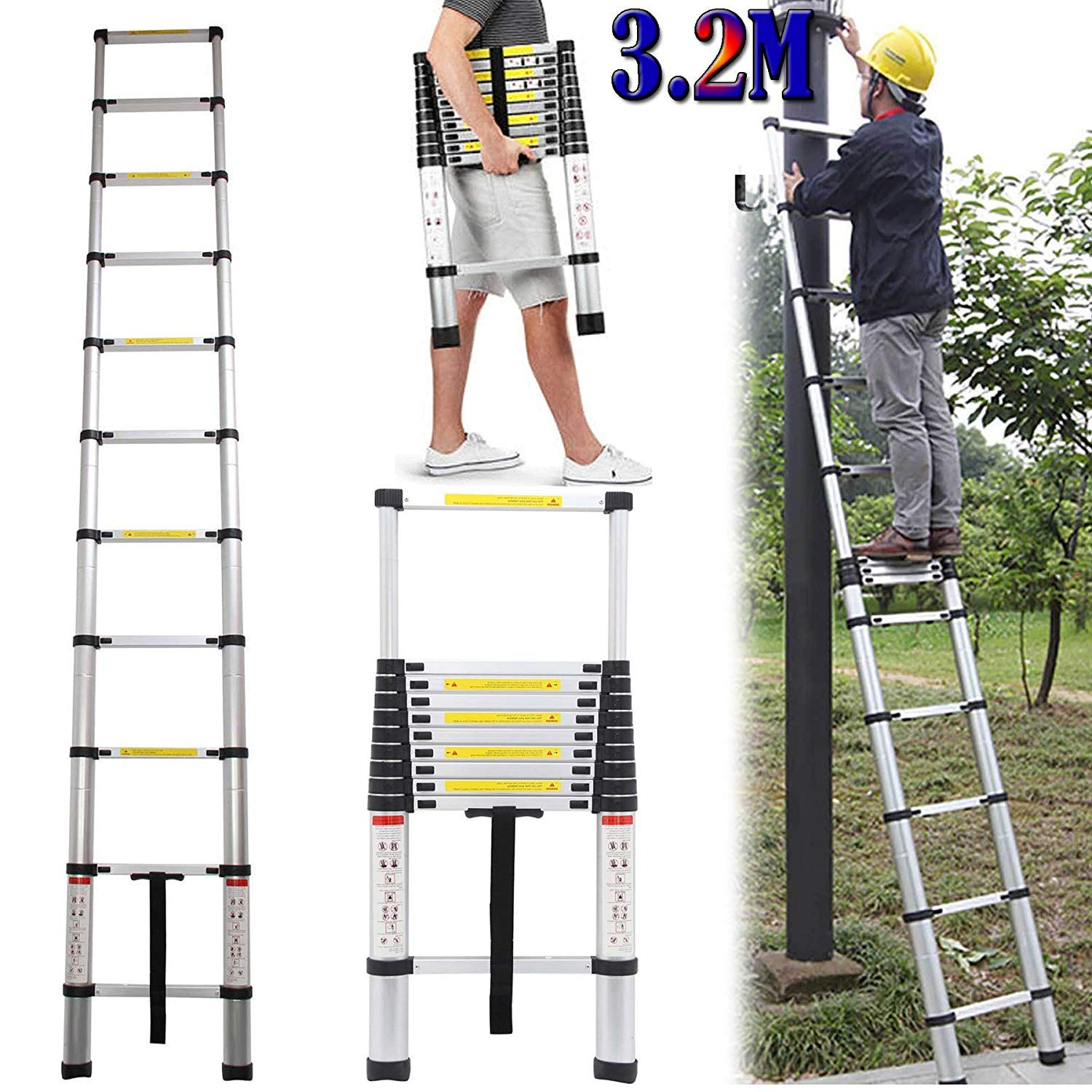 Luisladders 12.5ft Aluminum Telescopic Extension Ladder Extendable Telescoping EN131 Certified 330 lb Max Capacity with Spring Load Locking Mechanism Anti-Pinch /& Non-Slip