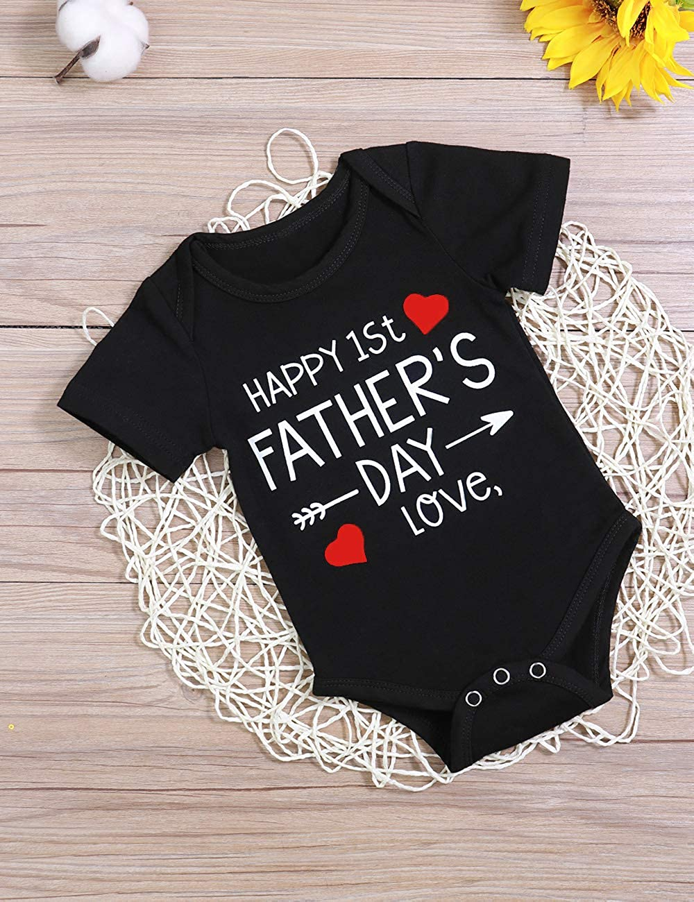 Xuefoo Happy 1st Fathers Day Clothes Short Sleeve Bodysuit for New Daddy Newborn Baby Girls Boys Romper