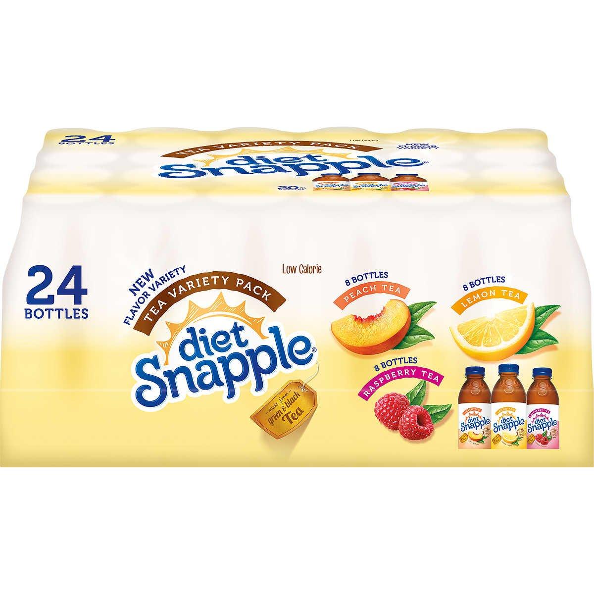 Snapple Diet Iced Tea, Variety Pack, 20 oz, 24 ct
