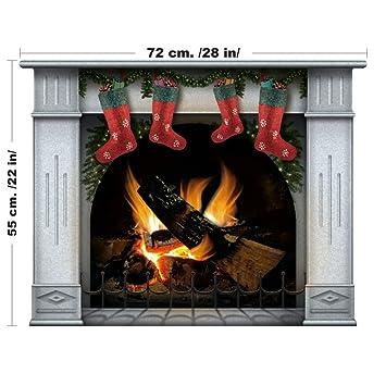 Weihnachtsdekoration Selbstklebend Aufkleber Weihnachtsmotive Dekoration    Brennendes Feuer   Weihnachten Kamin (Mittel, Blau)