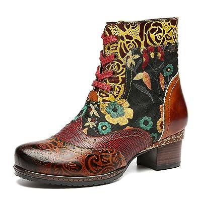 9db67f428c7c6 Camfosy Bottines Cuir Femme Plates, Chaussures Ville Hiver à Talons Plats Boots  Bottes à Lacets