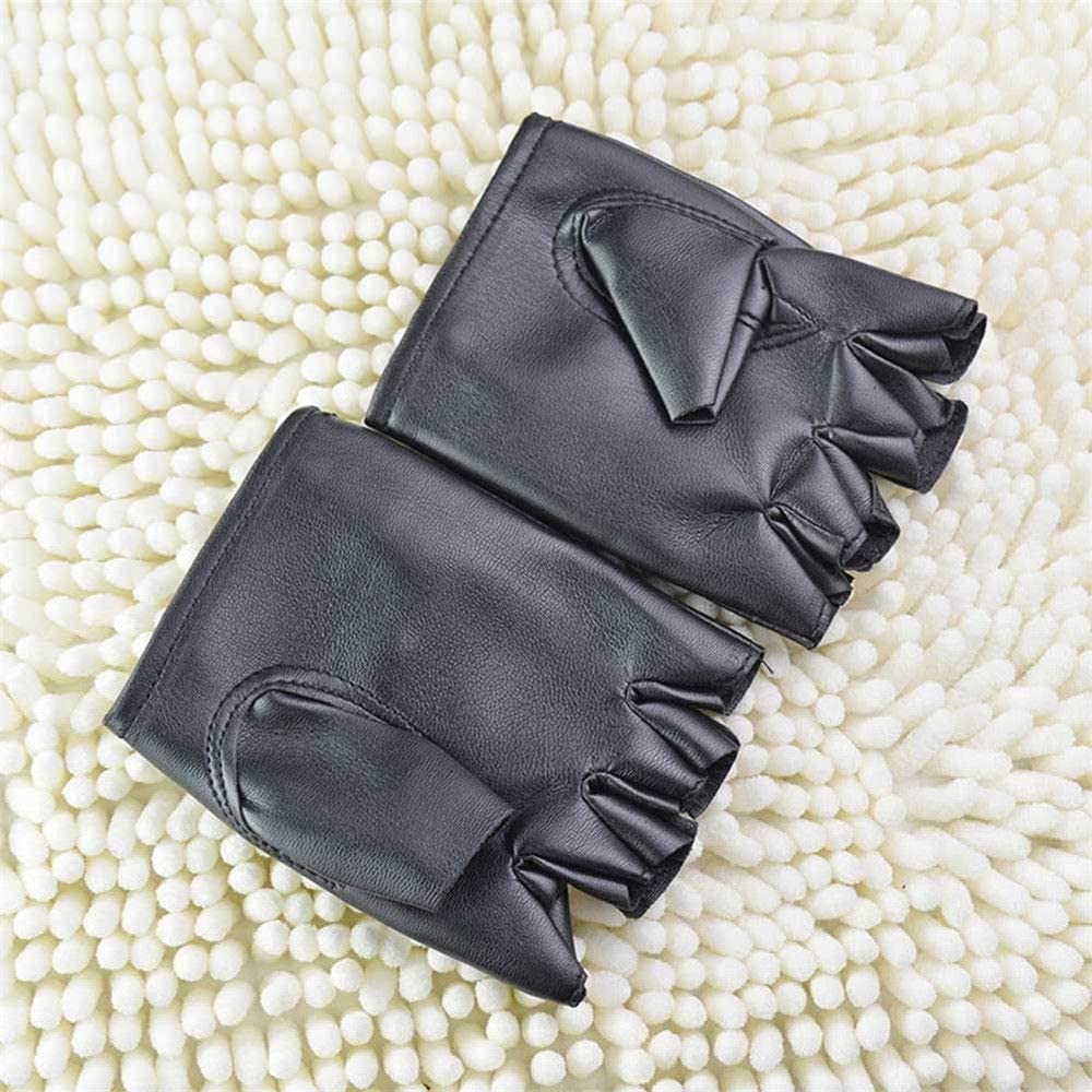 Mens Punk Fuax Leather Gloves Fingerless Half Finger Biker Sports Cycling Black