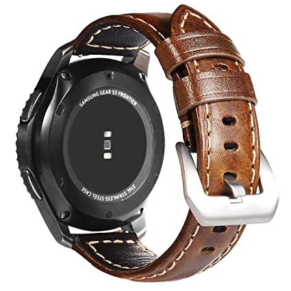 AiiKo for Gear S3 Bands, Samsung Galaxy Watch 46mm/Frontier Smartwatch Band, 22mm Genuine Leather Strap Replacement Wrist Band with Quick Release Pin ...