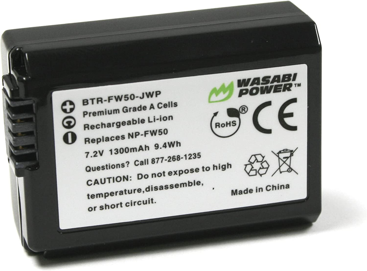 NP-FW50 Wasabi Power Camera Battery for Sony Alpha a5100, a6000, a6300, a6400, a6500, Alpha a7, a7 II, a7R, a7R II, a7S, a7S II, Cyber-Shot DSC-RX10 II, RX10 III, RX10 IV and More