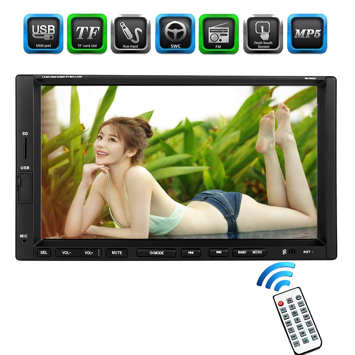 Ezonetronics Double Din Car Stereo 7 inches Indash Touch Screen Car Radio with Bluetooth USB SD MP5 Radio for Universal Cars (No DVD)