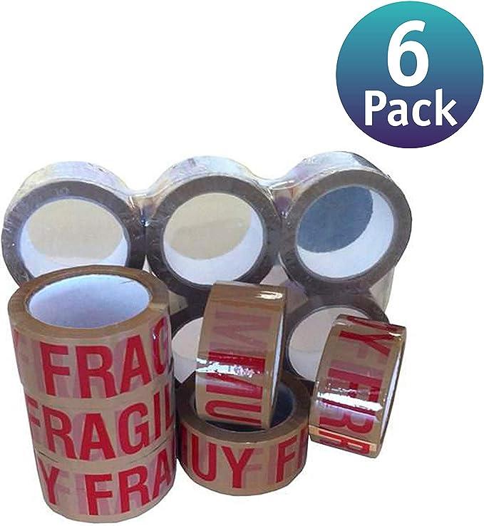 6 Pack] Cinta de embalar/cinta adhesivas - Cinta adhesiva de embalar varios colores y tamaños (50mm x 66m, Frágil Marrón): Amazon.es: Bricolaje y herramientas