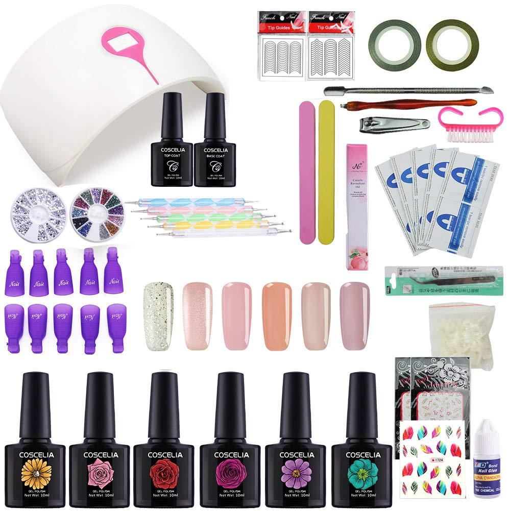 Coscelia Kit Vernis Semi Permanent 24 Watt Lampe LED UV Soak Off Huile Cuticule Coupe Ongle Sticker à Ongle Nail Art Kit # 20
