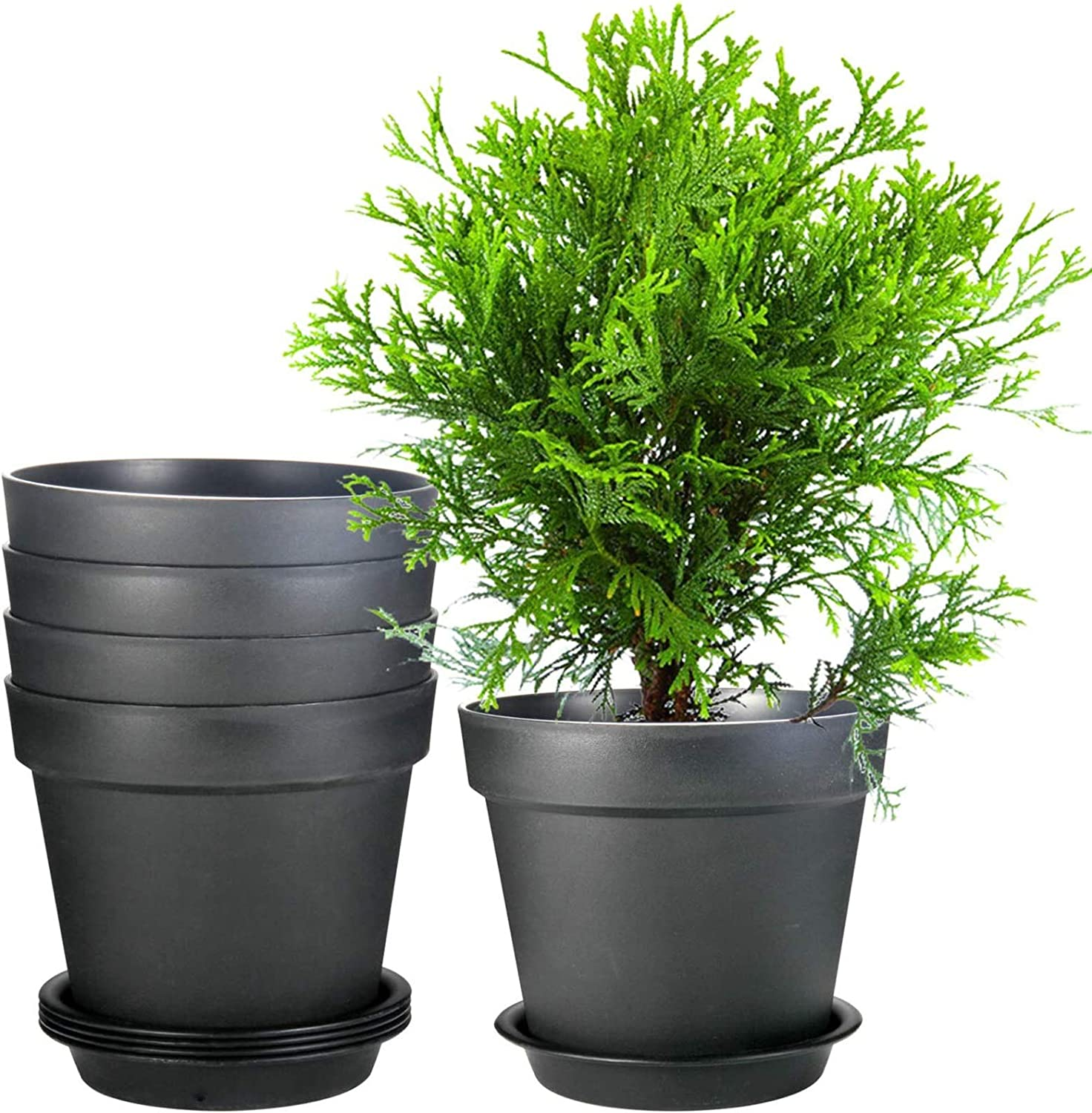 Flower Pots, ZOUTOG 9.5 Inch Outdoor Planters, Planters for Flowers, Snake Plants, African Violets, Pack of 5, Plants not Included