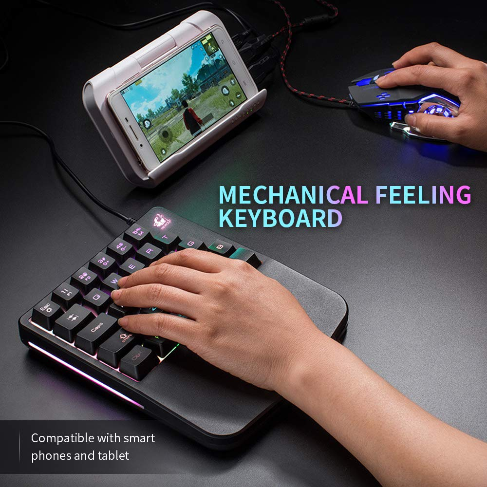 Docooler Free Wolf One-handed Membrane Keyboard 28 Keys with Backlight Single Hand Gaming Keyboard with Blue Switch Ergonomic Design and Anti-ghost Button