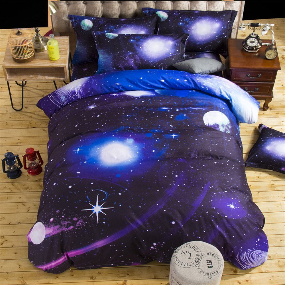 MADBEE 3D Twin Size bedding Sets Duvet/Quilt cover for Boys Girls Galaxy Stars Polyester(7, Twin)