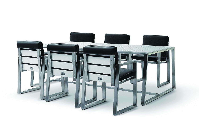 Nikkigarden Esstischset Sydney - Set 2 - aluminium / schwarz