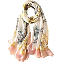 100% Silk Scarf - Women's Fashion Large Sunscreen Shawls Wraps - Lightweight Floral Pattern Satin for Headscarf&Neck