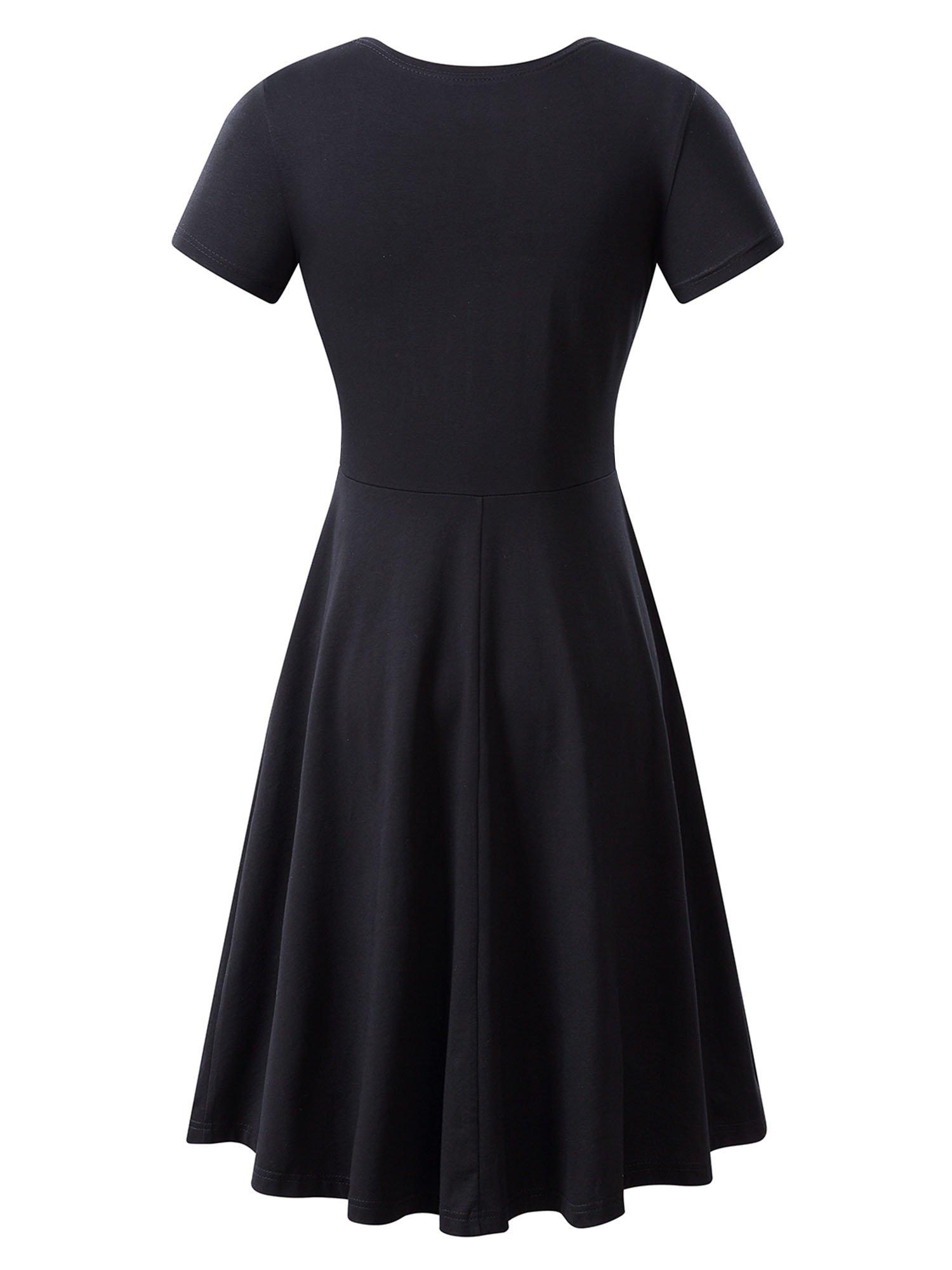 HUHOT Women Short Sleeve Round Neck Summer Casual Flared Midi Dress Large Black by HUHOT (Image #2)