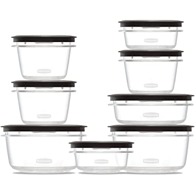 16-Piece Set Rubbermaid Premier Food Storage Containers, Shatterproof and Resist Stains and Odors