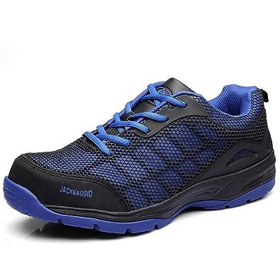 234388dba30 JACKBAGGIO Men s Athletic Steel Toe Breathable Mesh Lightweight Work Shoes  8824 (3 D(M