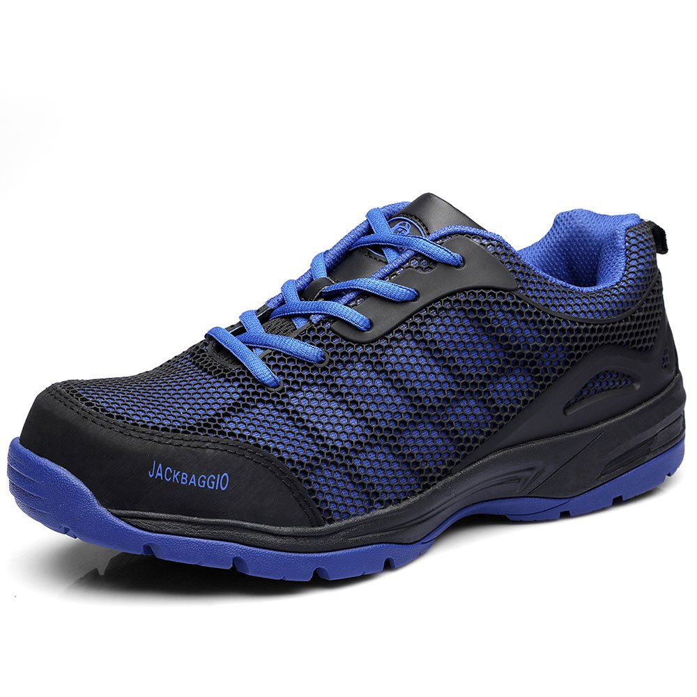 JACKBAGGIO Men's Athletic Steel Toe Breathable Mesh Lightweight Work Shoes (10.5, Blue)