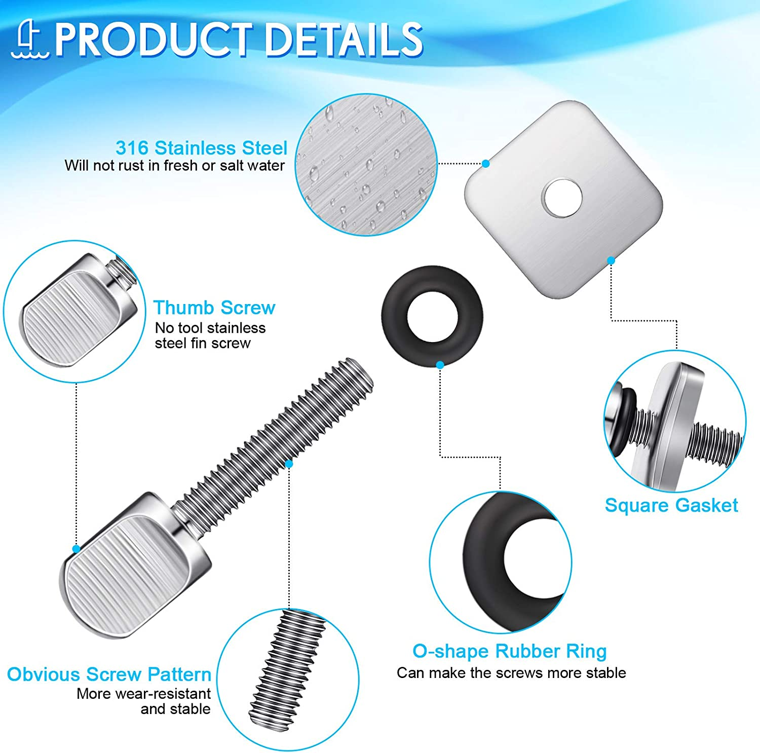 3 Pack Fin Screws for Surfboard No Tool Stainless Steel Thumb Fin Screw and Plate for Surf Longboard and SUP