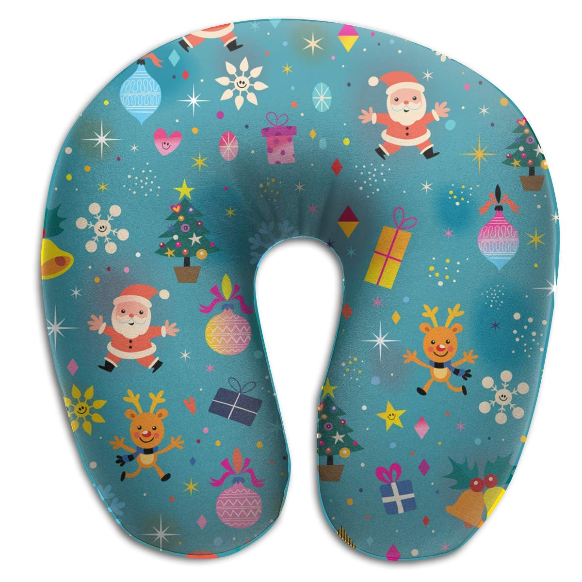 Gxdchfj Memory Foam Neck Pillow Merry Christmas Santa Gift Box U-Shape Travel Pillow Ergonomic Contoured Design Washable Cover for Airplane Train Car Bus Office
