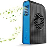 Skyocean Small Personal Fan with 6000mAh Power Bank, Mini Battery Rechargeable USB Fan with Portable Phone Charger Handheld Air Conditioner Summer Cooler Bladeless No Leaf Fan (Black)