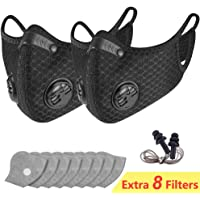 Dust Breathing Mask Activated Carbon Dustproof Mask with Extra Carbon N99 Filters for Pollen Allergy Woodworking Mowing Running Cycling Outdoor Activities (Black) (2-black)