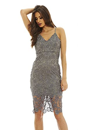 fbc781fde272 Amazon.com: AX Paris Women's V Neck Crochet Midi Dress: Clothing