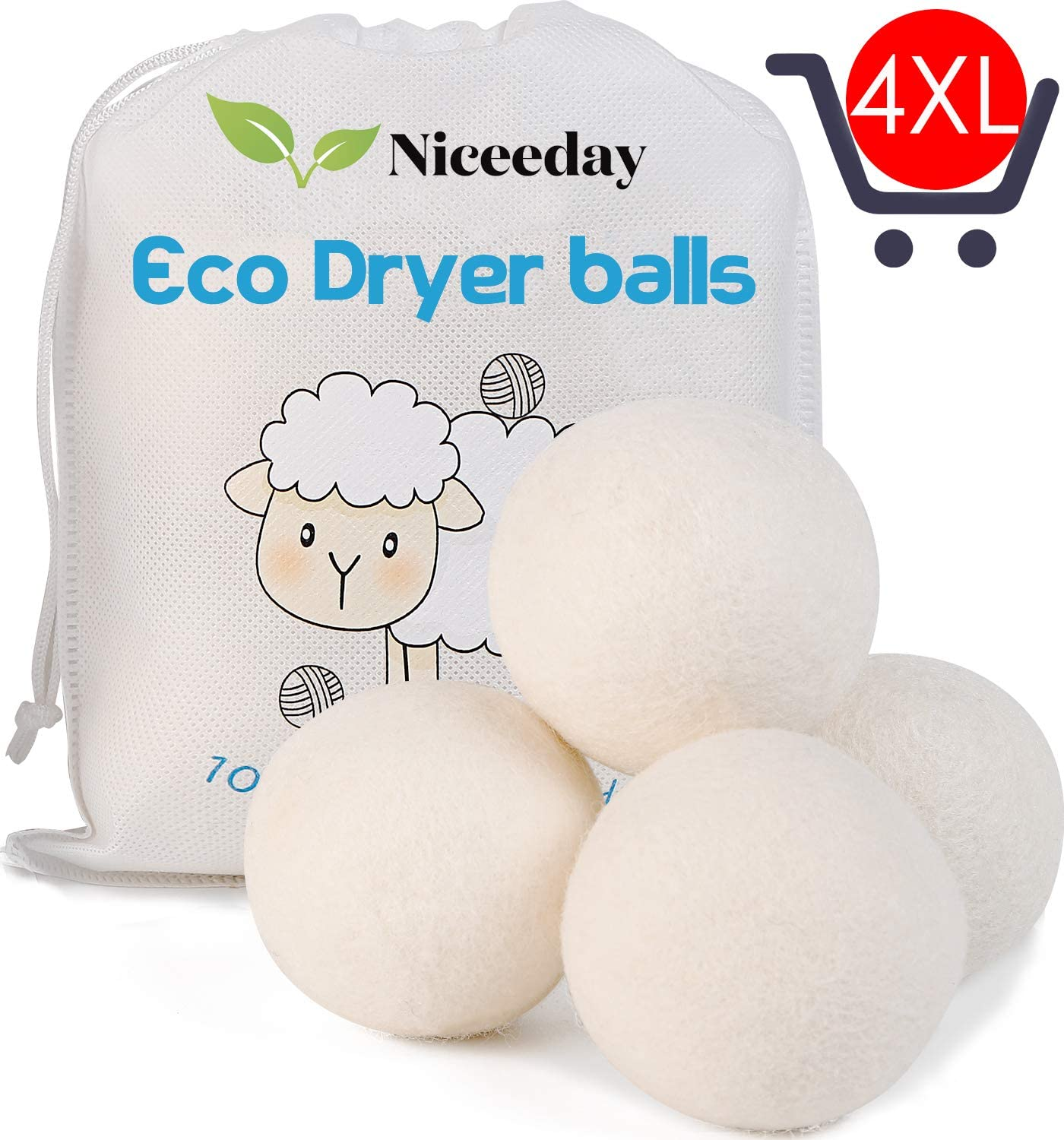 Wool Dryer Balls XL, Handmade Organic Dryer Balls Laundry Reusable Natural Fabric Softener, Dryer Sheets Alternative, 100% New Zealand Wool Extra-Large Dryer Ball,Reduce Wrinkles & Saves Drying Time
