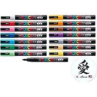 اقلام تحديد يوني بوسكا لملصق ميتسوبيشي، 15 قلم تحديد براس رفيع بي سي-3 ام مجموعة معيارية مع ملصق كانجي لاف