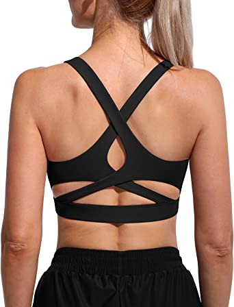 Move With You Womens Strappy Sports Bras Criss Cross Workout Running Yoga Gym